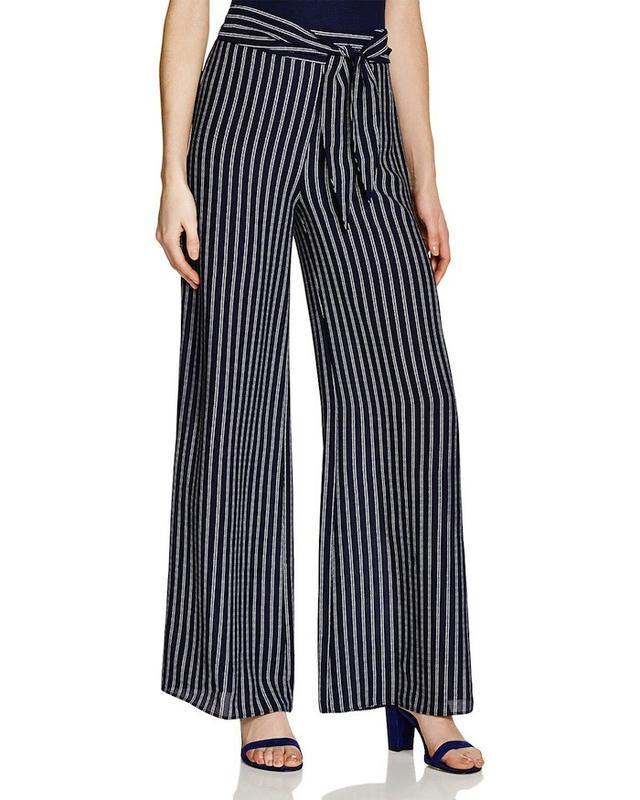 Aqua Tie Waist Striped Wide Leg Pants