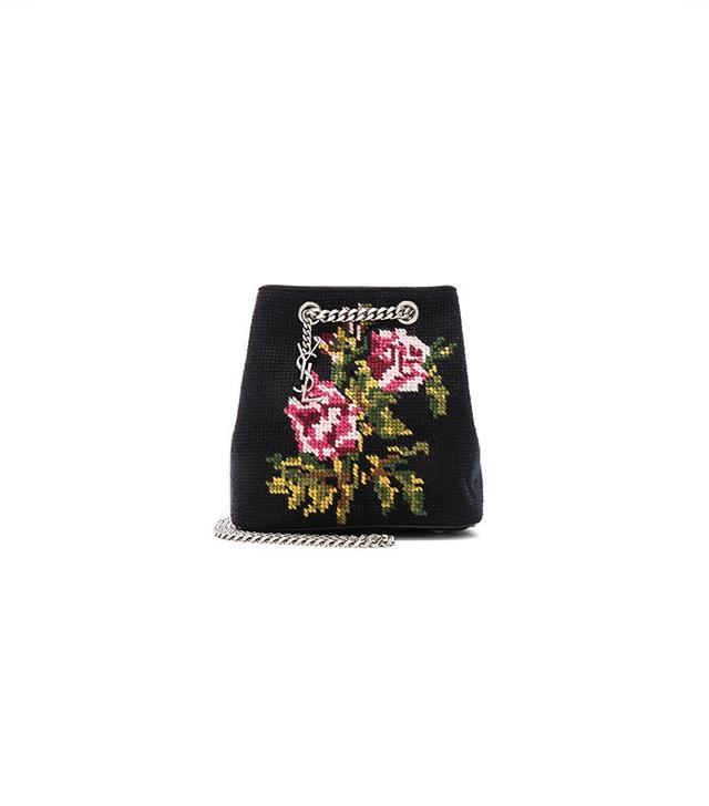 Saint Laurent Baby Floral Embroidery Emmanuelle Bucket Bag