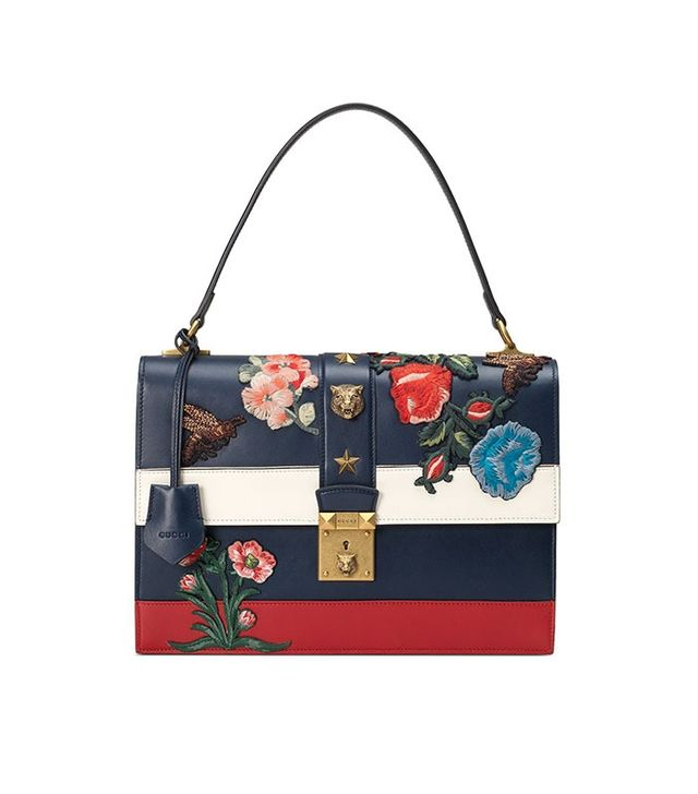 Gucci Embroidered Riche Stripe Shoulder Bag