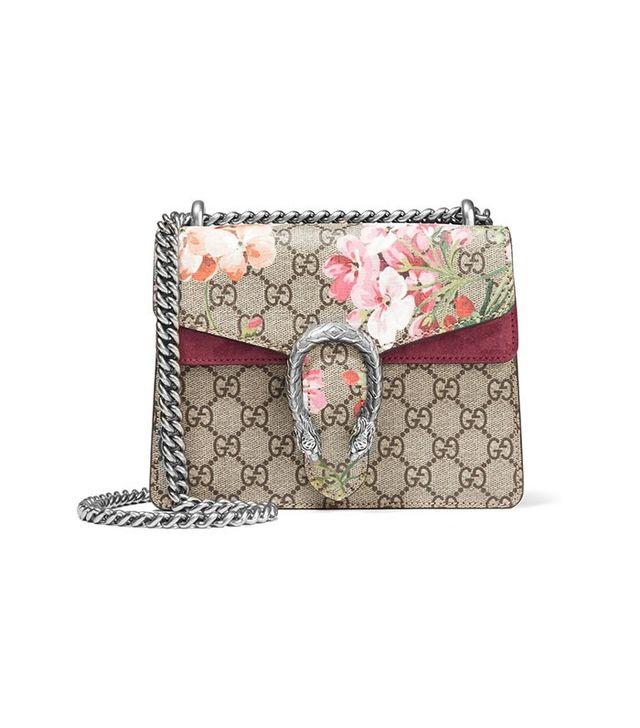 Gucci Dionysus Mini Printed Coated Canvas And Suede Shoulder Bag