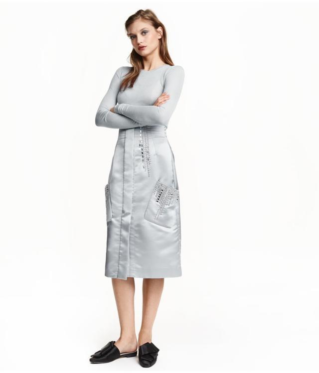 H&M Beaded Satin Skirt