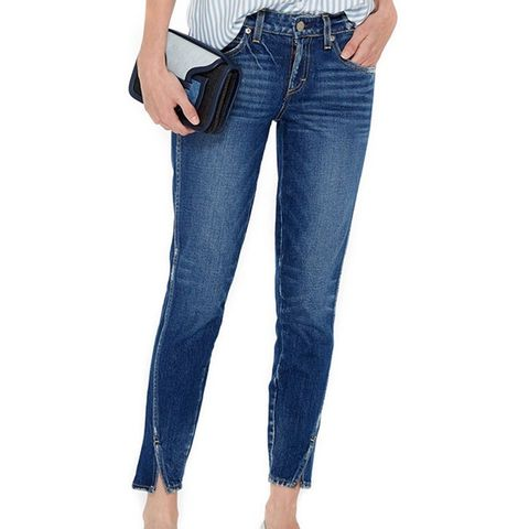 Twist Skinny Cropped Jeans With Ankle Slit