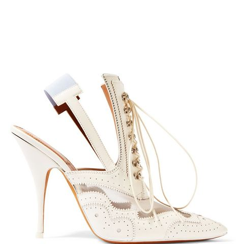 Slingback Mules in Mesh-Paneled White Leather