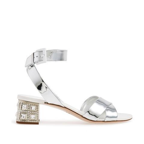 Jewel Heel Crisscross Strap Sandal