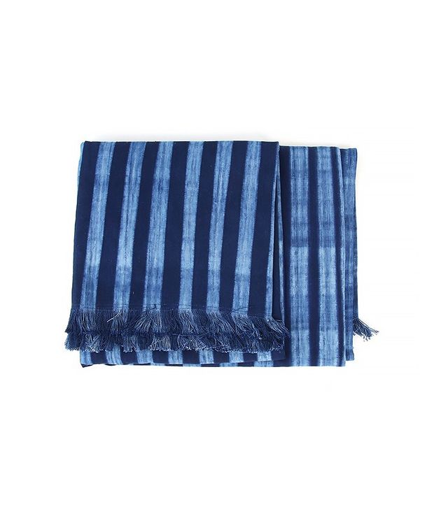 Amber Interiors Tensira Indigo Throw With Fringes