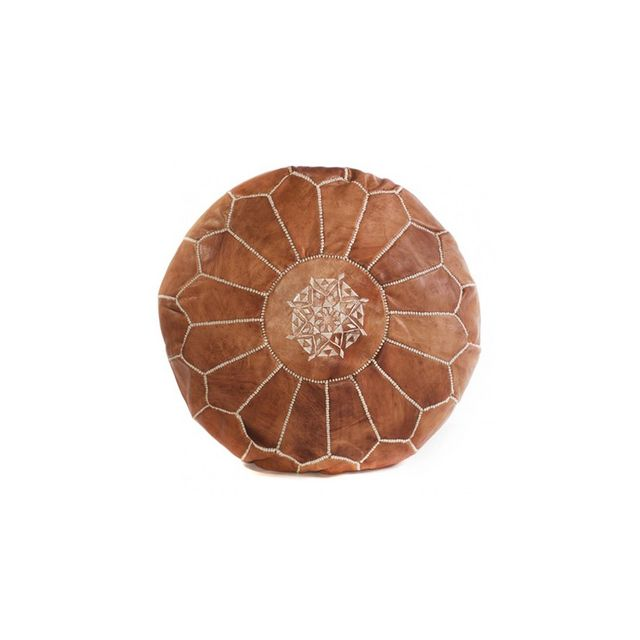 Cush & Co Tan Brown Moroccan Pouf Leather