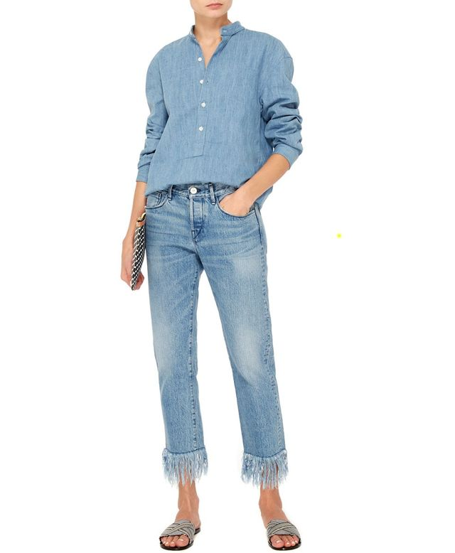 3x1 WM3 Straight Cropped Fringed Jeans
