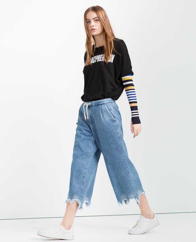 Zara Frayed Denim Culottes