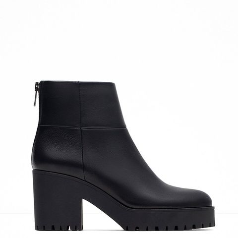High Heel Leather Ankle Boots With Track Sole