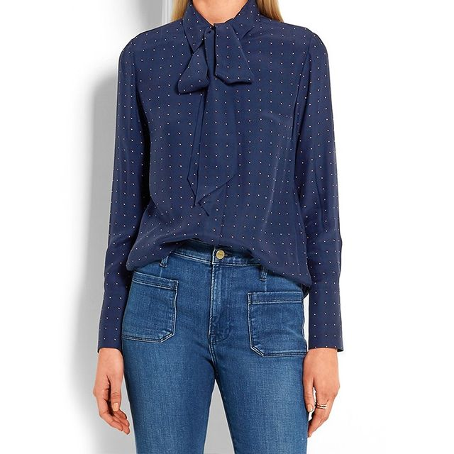Frame Denim Le Scarf Pussy-Bow Printed Silk-Charmeuse Shirt