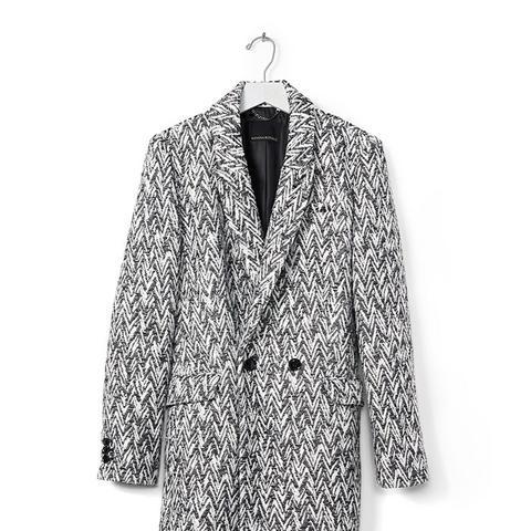 Chevron Jacquard Double Breasted Coat