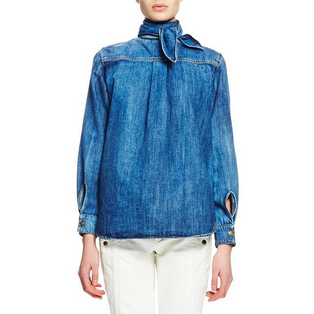 Chloé Long-Sleeve Tie-Neck Blouse