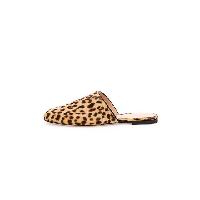 Gianvito Rossi Leopard-Print Calf-Hair Slide