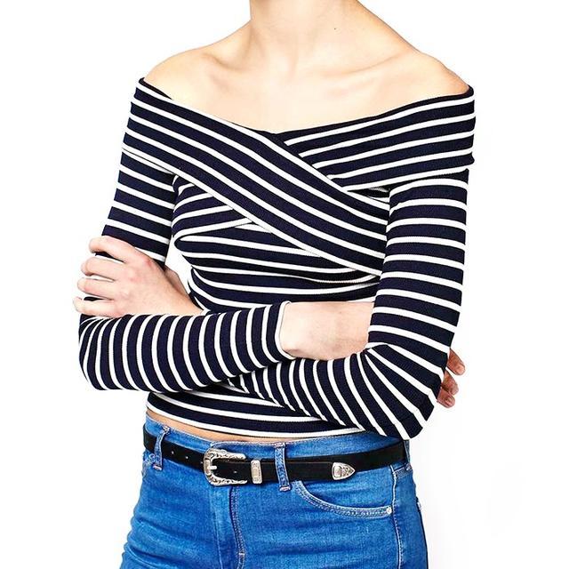 Topshop Bardot Stripe Top