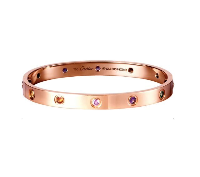 Cartier Love Bracelet in Pink Gold With Sapphires, Garnets, and Amethysts