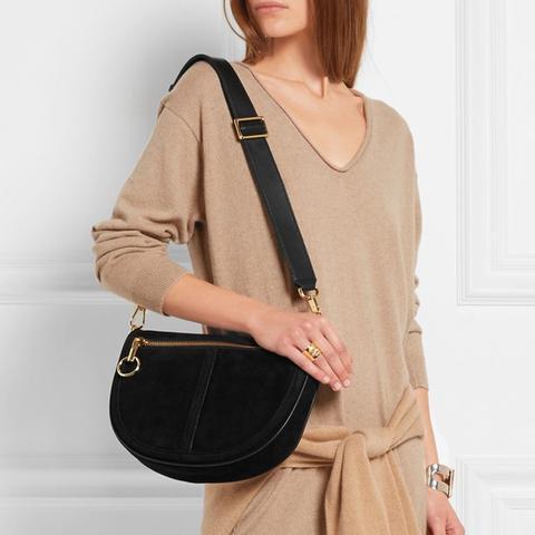 Scott Moon Small Leather-Trimmed Suede Shoulder Bag