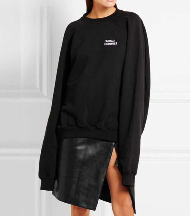 Vetements Oversized Embroidered Cotton-Jersey Sweatshirt