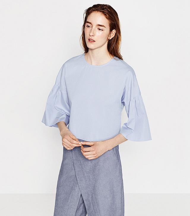 Zara Frilled Sleeve Top