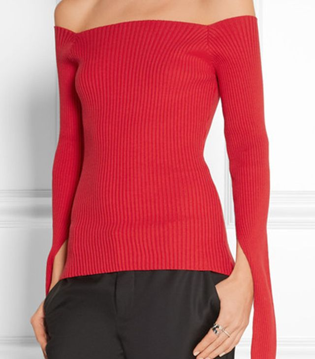 Jacquemus Off-the-Shoulder Ribbed Cotton-Blend Sweater