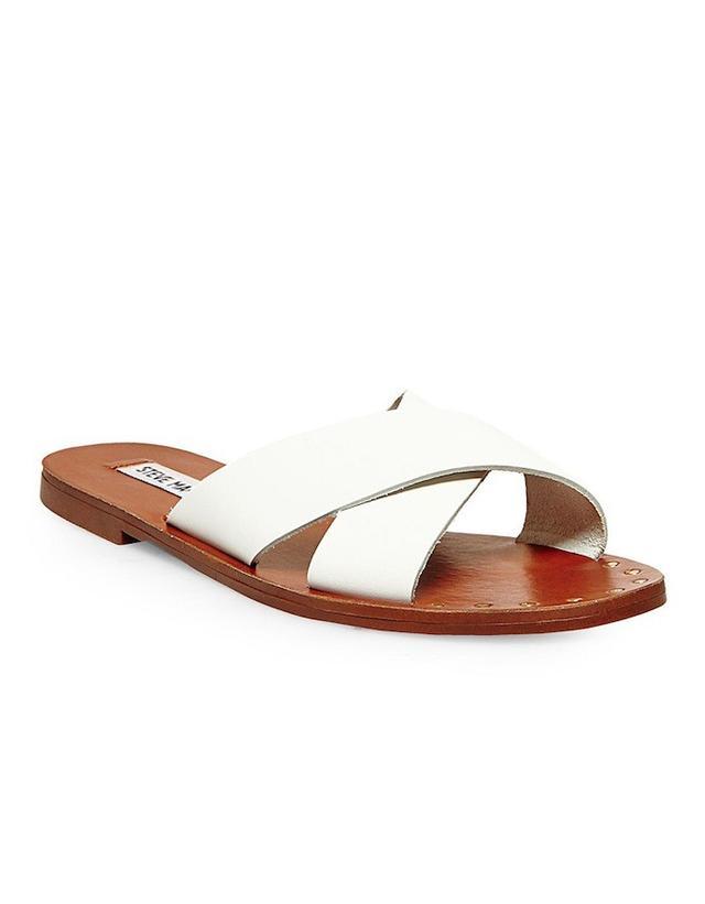 Steve Madden Dryzzle Leather Flat Slide Sandals