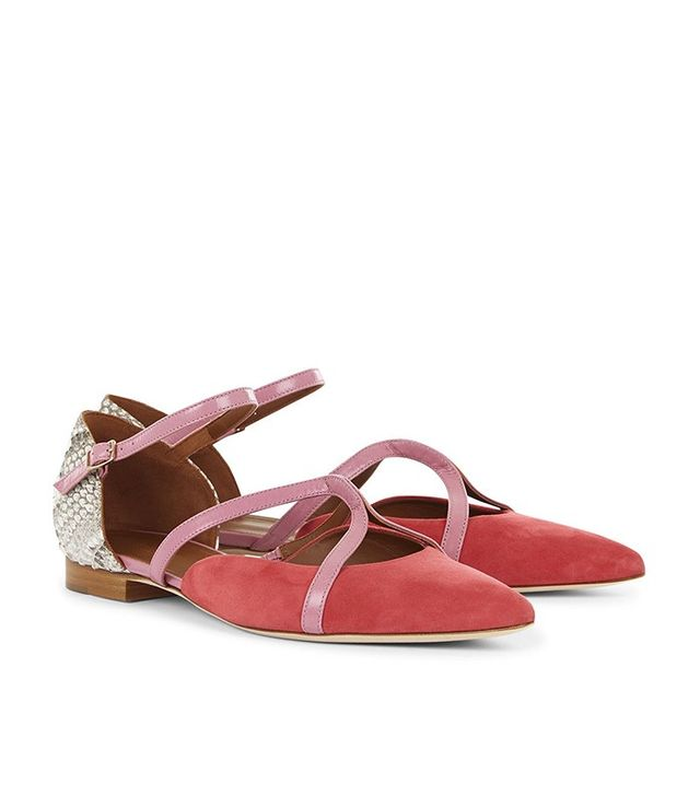 Malone Souliers Strawberry Suede Veronica Flats