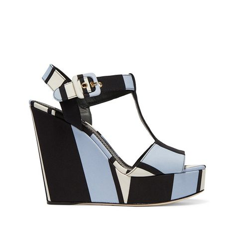 Striped Canvas Wedge Sandals