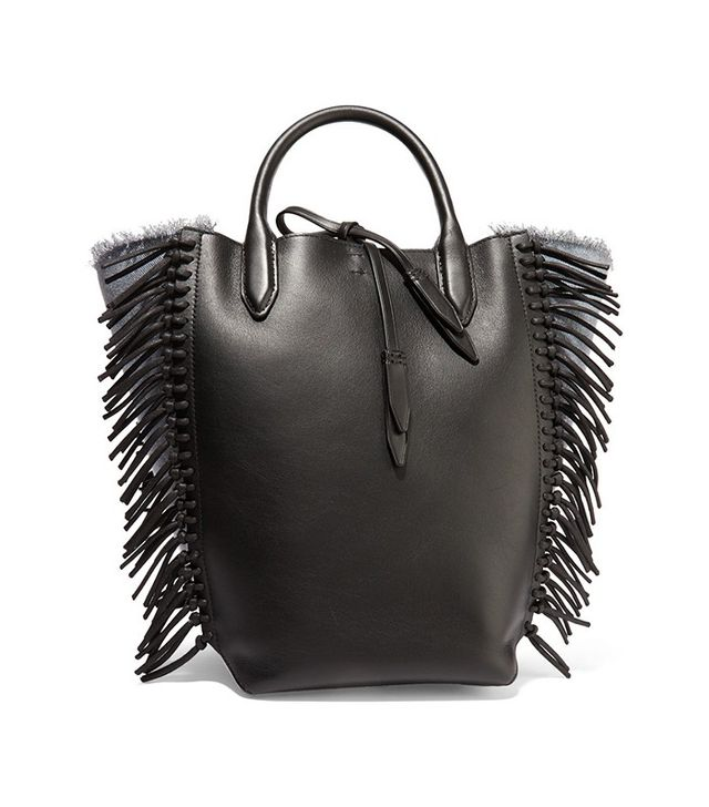 3.1 Phillip Lim Bianca Fringed Leather and Denim Tote Bag
