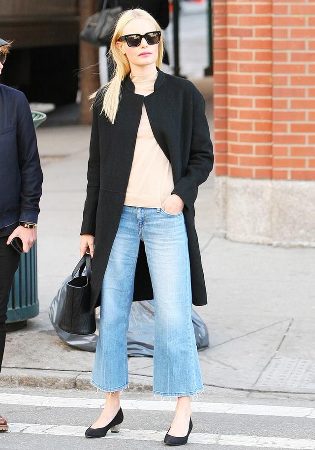 On Kate Bosworth: Joe's Jeans The Gaucho (£133) in Jan; Meli Melo Rosalia Mini Black Bag(£350); Nicholas Kirkwood Briona Prism Pumps (£611).