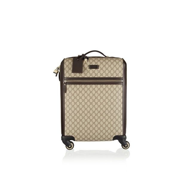 Gucci Gran Turismo leather-trimmed coated canvas travel trolley