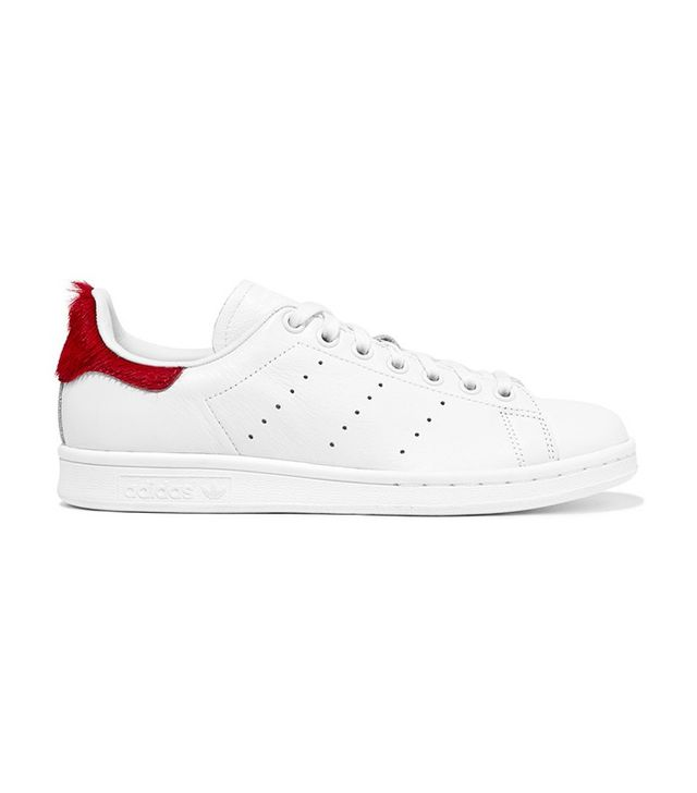 adidas Originals Stan Smith Calf Hair Paneled Leather Sneakers