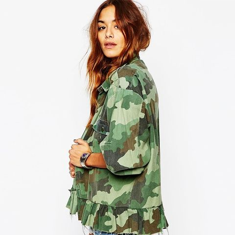 Vintage Military Shirt With Peplum Hem In Camo