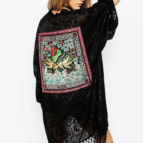 Premium Burn Out Kimono With Festival Embroidered Patch Detail