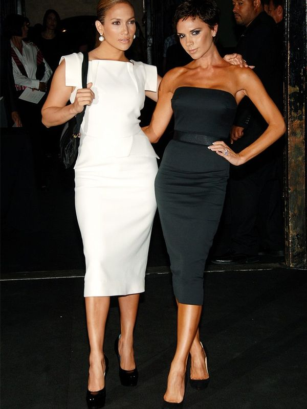 Victoria Beckham in Victoria Beckham with Jennifer Lopez at the Marc Jacobs show at New York Fashion Week, September 2008