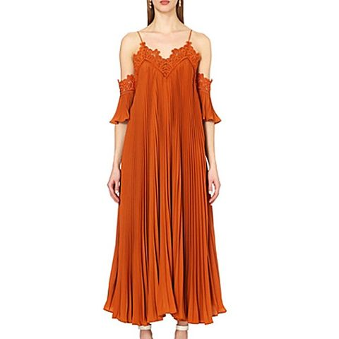 Pleated Off-the-Shoulder Crepe Dress
