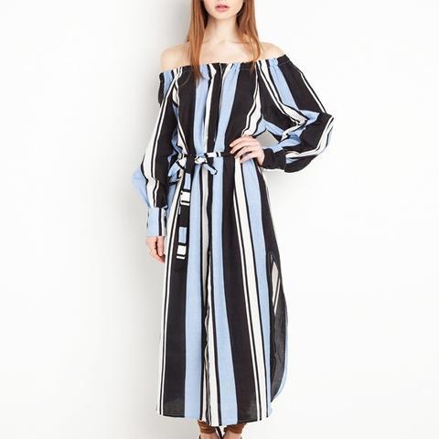 Capri Striped Off the Shoulder Midi Dress