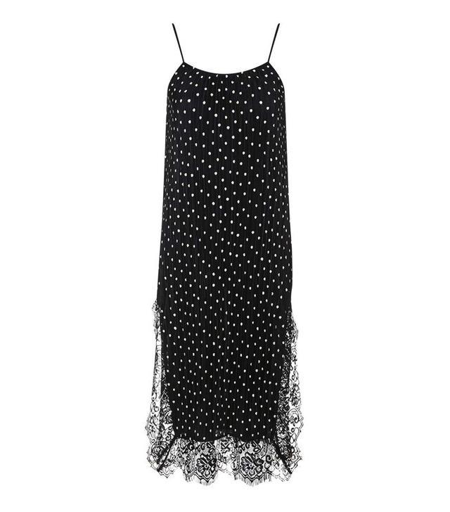 Topshop Spot Plisse Slip Dress