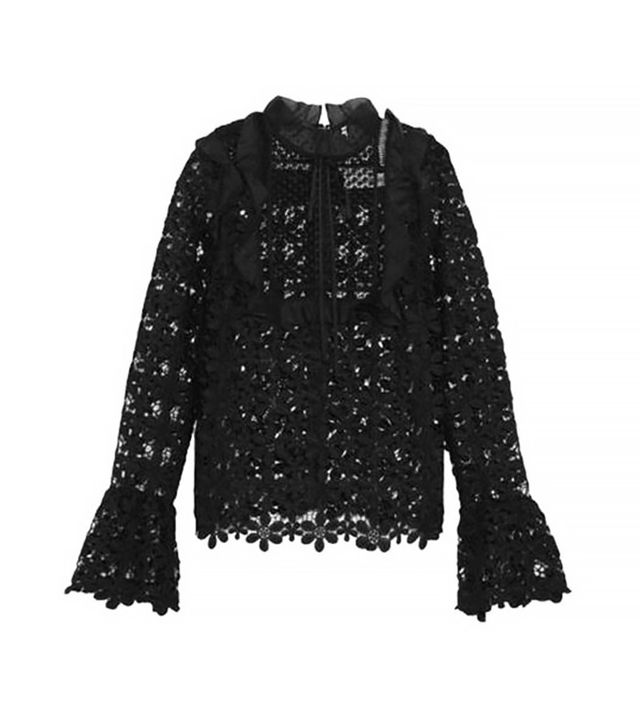 Self-Portrait Ruffled Organza-Trimmed Guipure Lace Blouse
