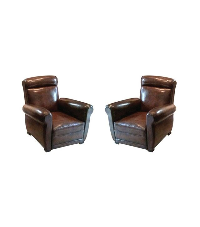 Chairish Antique Leather French Club Chairs Set of 2