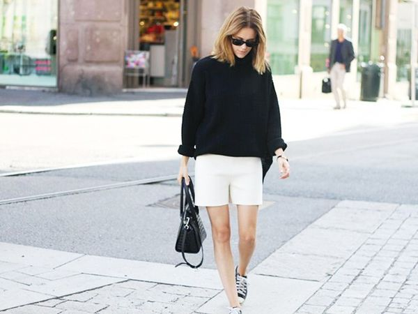 Style Tip: Wear your favorite sneakers with tailored shorts and an oversize sweater.