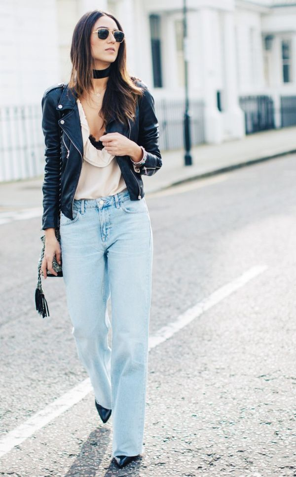 Style Tip: Toughen up a ruffled blouse with a leather jacket and wide-leg jeans.