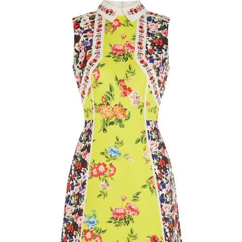 Amore Floral-Print Silk-Blend Cloque Mini Dress
