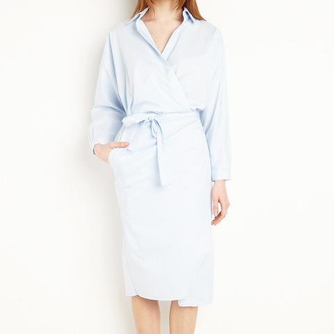 Nina Blue Wrap Shirt Dress