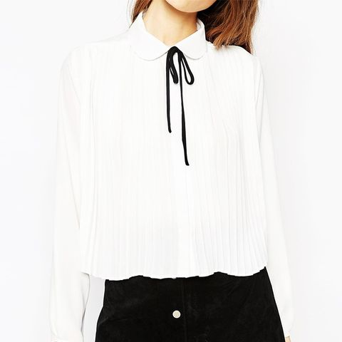 Pleat Front Blouse With Contrast Tie