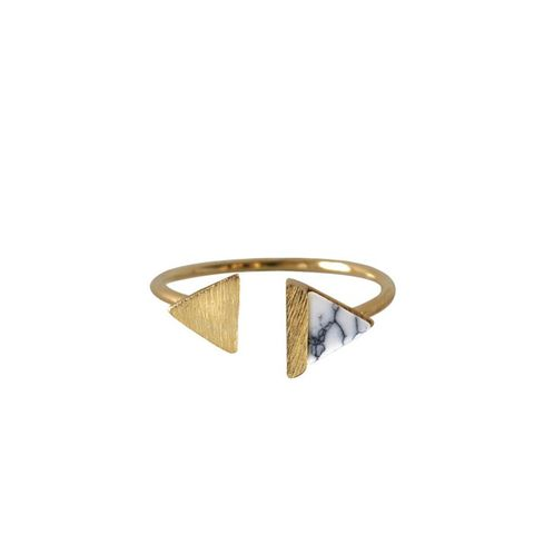 Double-Tri Split Gold & Marble Ring
