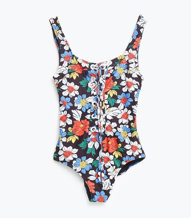 Zara Printed Floral Swimsuit with Cord