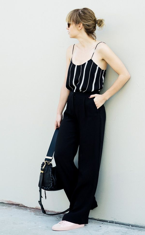Style Notes: Tuck a slinky camisole into a pair of roomy trousers.