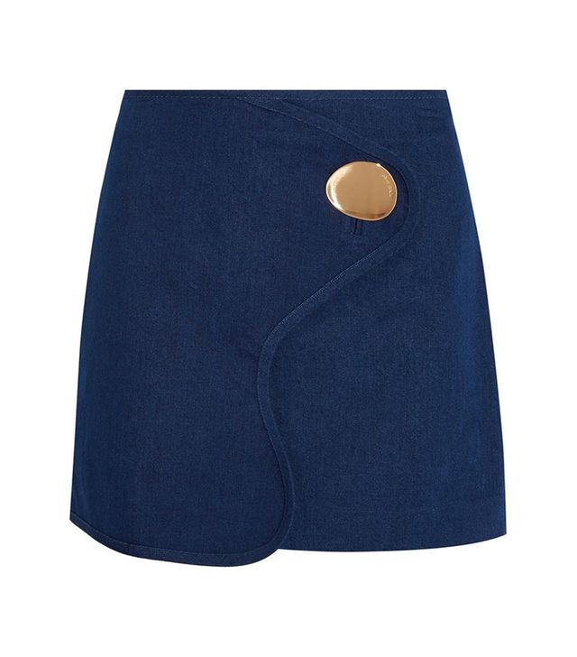 Opening Ceremony Embellished Wrap-Effect Denim Mini Skirt