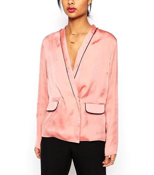 ASOS Satin Wrap Front Pajama Blouse