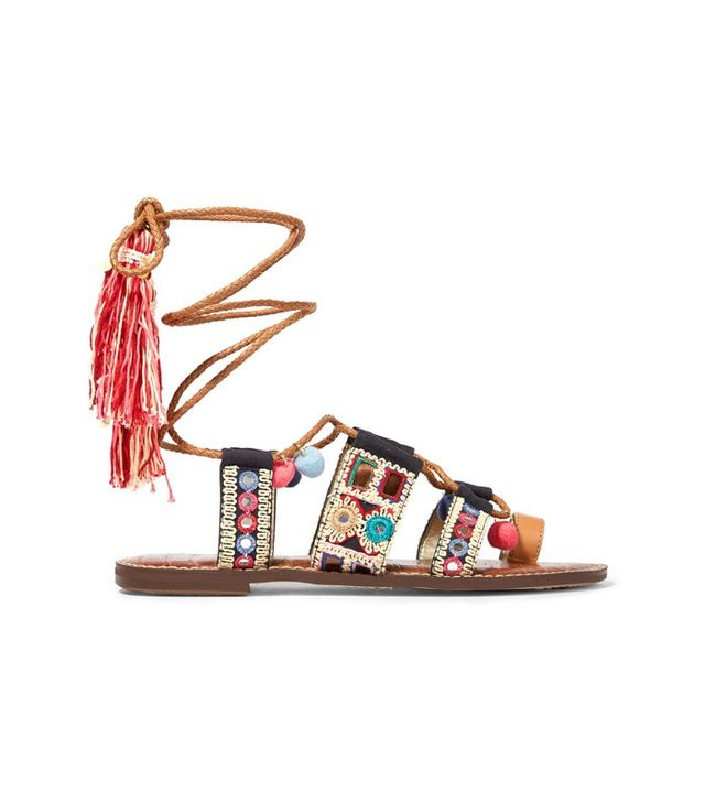 Sam Edelman Gretchen Embroidered Canvas and Leather Sandals
