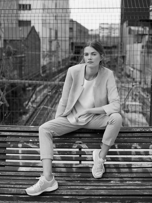 Get the Look: Zara Linen Frock Coat (£50), Poplin Top (£18), Seersucker Trousers (£30), and Lace-Up Sneakers (£40).